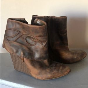 Size 9 Leather Wedge Bootie